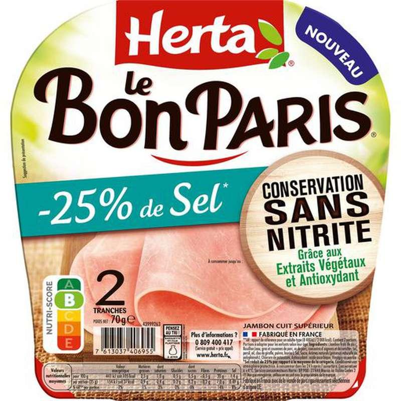 Jambon Le bon Paris -25% Sel et sans nitrite, Herta (2 tranches, 70 g)