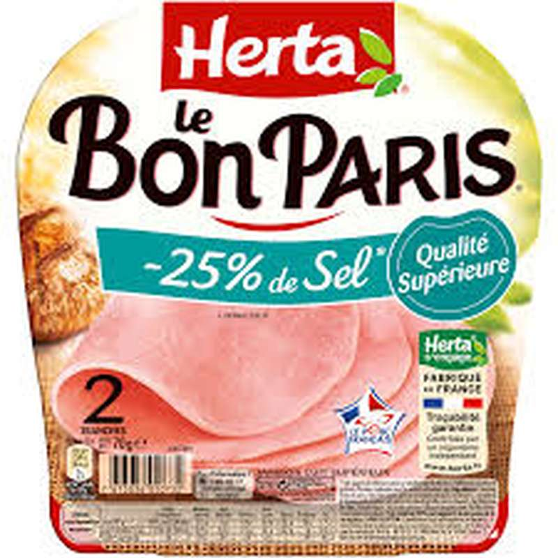 Jambon Le Bon Paris -25% Sel, Herta (2 tranches, 70 g)