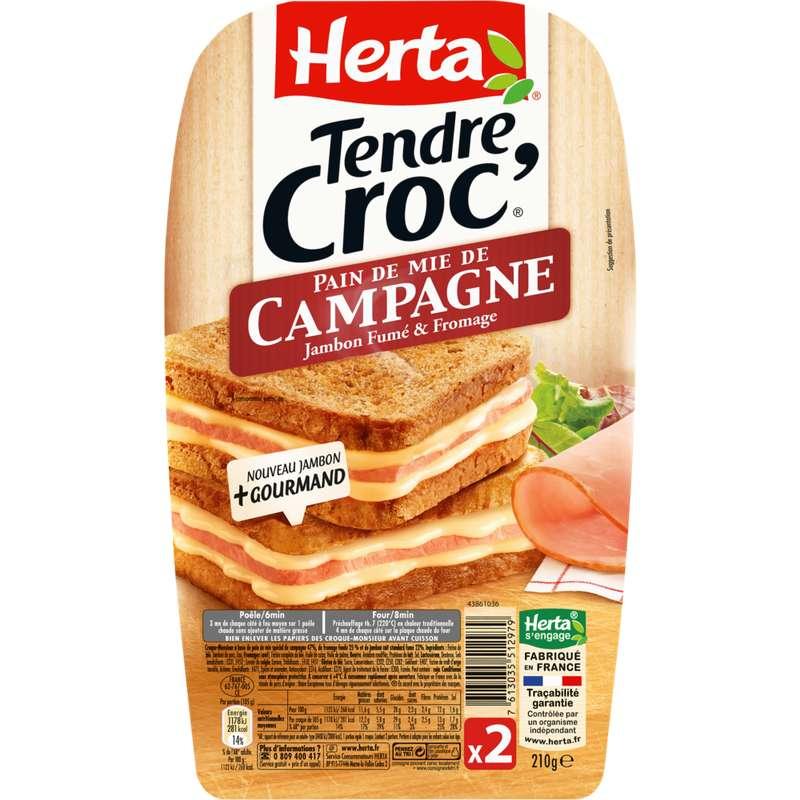 Croque Monsieur Tendre Croc' au pain de mie de campagne, Herta (x 2, 210 g)