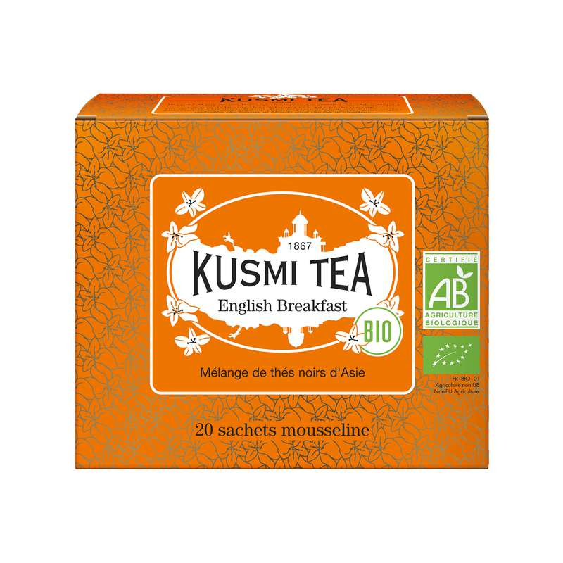 Thé English Breakfast BIO - étui sachets mousseline, Kusmi Tea (x 20, 40 g)