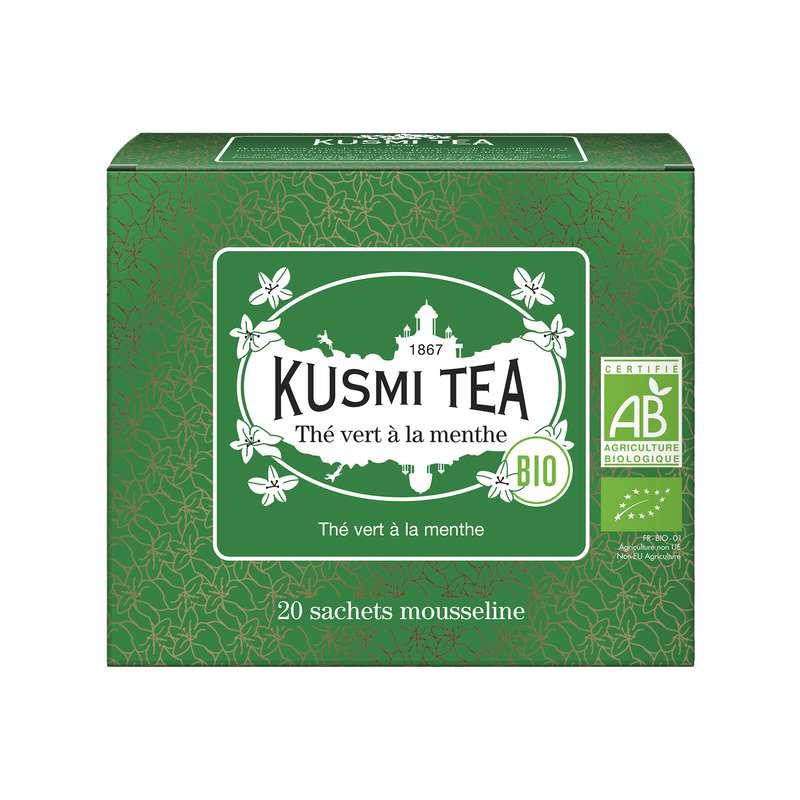 Thé vert à la menthe BIO - étui sachets mousseline, Kusmi Tea (x 20, 40 g)