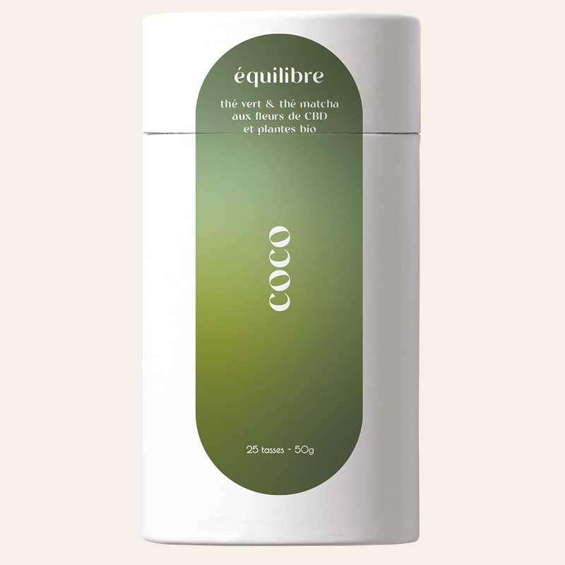Thé vert coco et thé matcha aux fleurs de CBD BIO, Equilibre CBD (50 g)