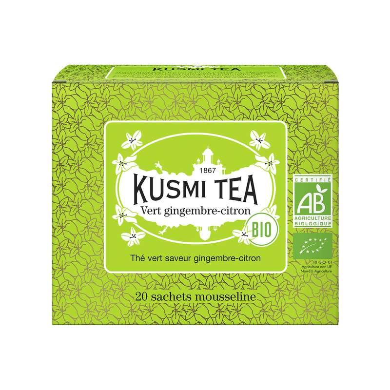 Thé vert gingembre-citron BIO - étui sachets mousseline, Kusmi Tea (x 20, 44 g)