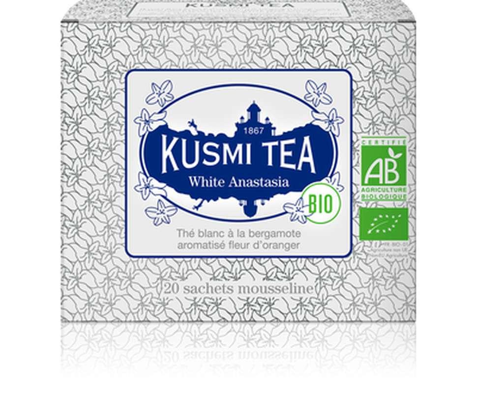 Thé White Anastasia BIO - étui sachets mousseline, Kusmi Tea (x 20, 40 g)