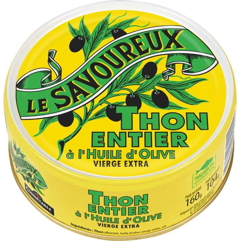 Thon entier à l'huile d'olive vierge extra, Le Savoureux (160 g)