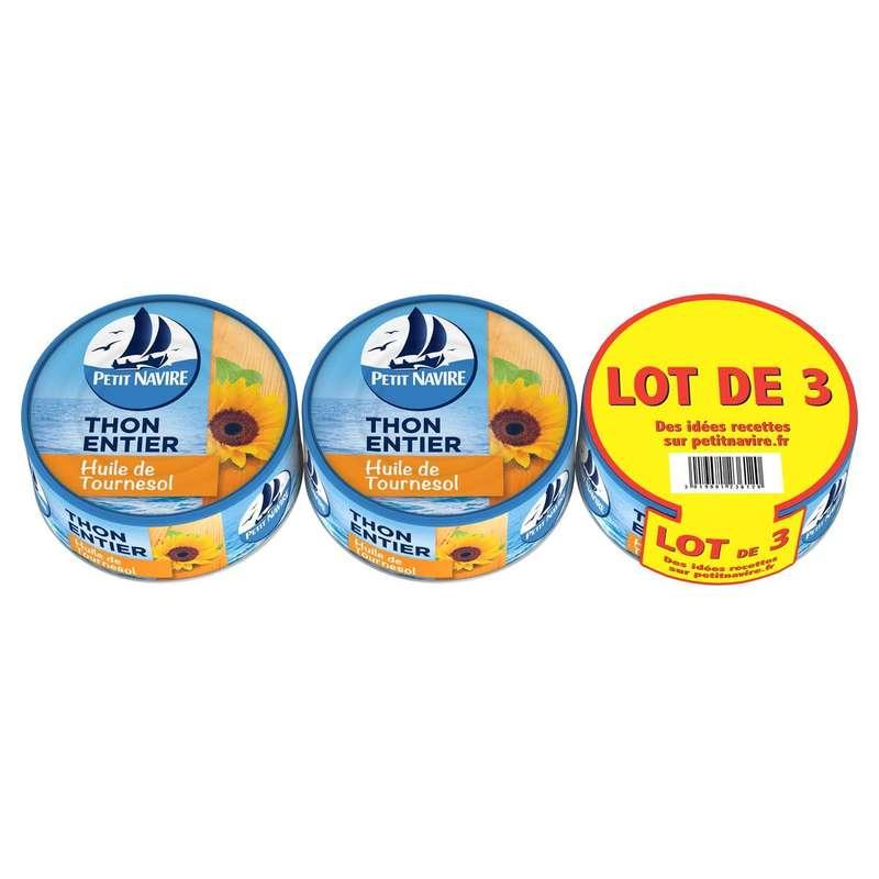 Thon entier à l'huile de tournesol, Petit Navire LOT DE 3 (3 x 160 g)
