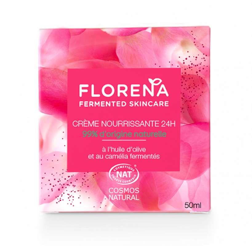 Crème nourrissante 24h à l'huile d'olive et camélia fermentés, Florena (50 ml)