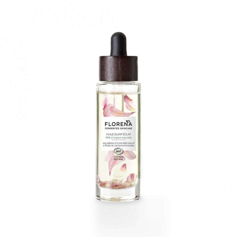 Huile Elixir Éclat à la rose et huile de carthame fermentée, Florena (50 ml)