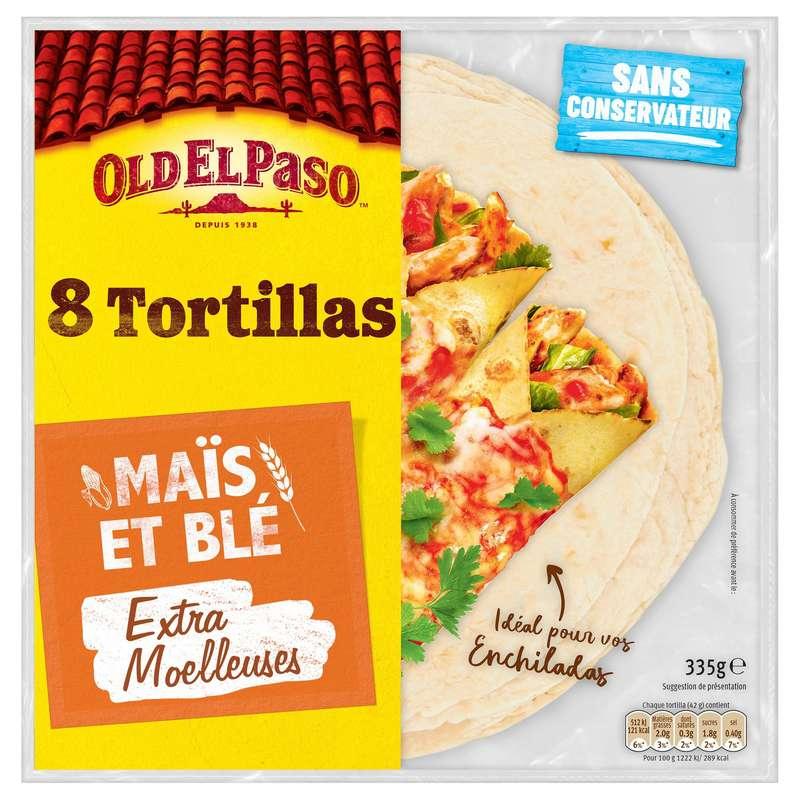 Tortilla de maïs et blé souple, Old El Paso (x 8, 335 g)