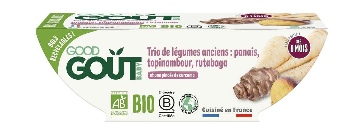 Trio de légumes anciens : panais, topinambour et rutabaga BIO - dès 8 mois, Good Goût (2 x 190 g)