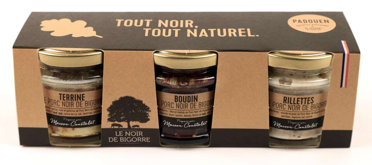 Trio de verrines Noir de Bigorre, Padouen (3 pièces de 90 g, 270 g)