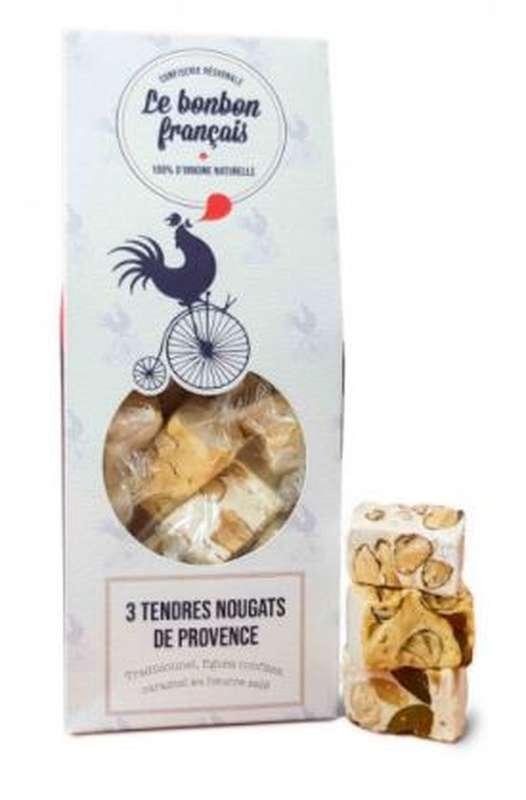 Trois Tendres nougats assortis (figues, caramel au beurre salé et amandes/miel), Le Bonbon Français (130 g)