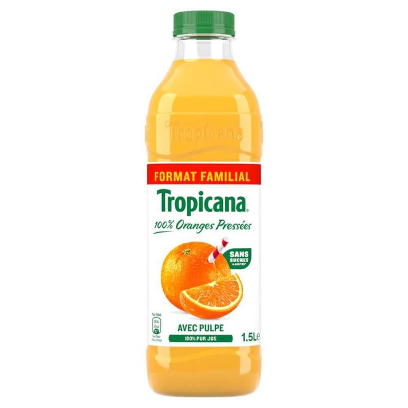 Jus d'oranges 100% pressées avec pulpe, Tropicana LOT DE 2 (2 x 1,5 L)