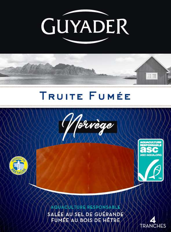 Truite fumée élevée en Norvège, Guyader (x 4, 140 g)