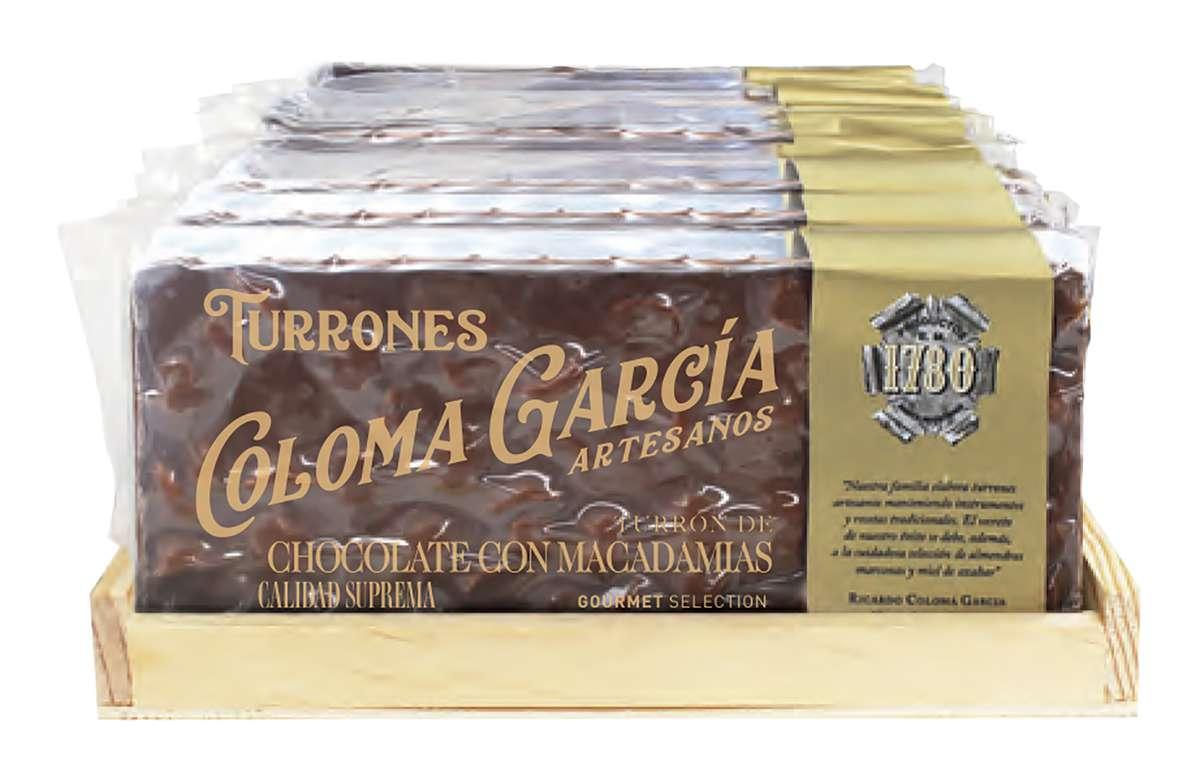 Turron gourmet au chocolat au lait et macadamia, Coloma Garcia (200 g)