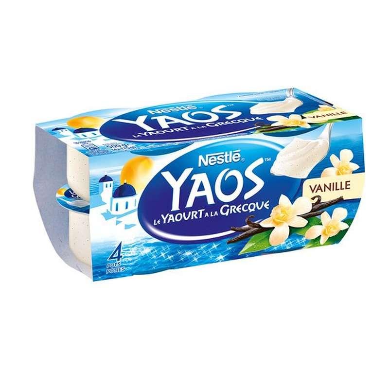 Yaourt vanille à la Grecque Yaos, Nestlé (4 x 125 g)