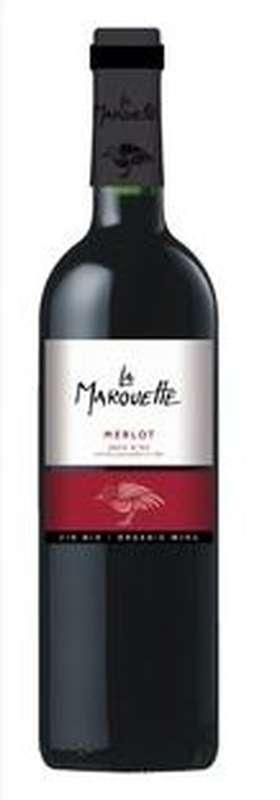 Vin rouge Merlot Pays d'Oc IGP BIO, La Marouette (75 cl)
