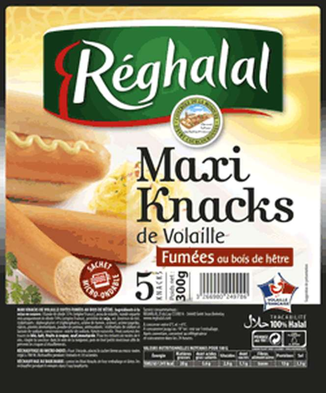 Maxi Knacks de volaille Halal, Reghalal (x 5, 300 g)