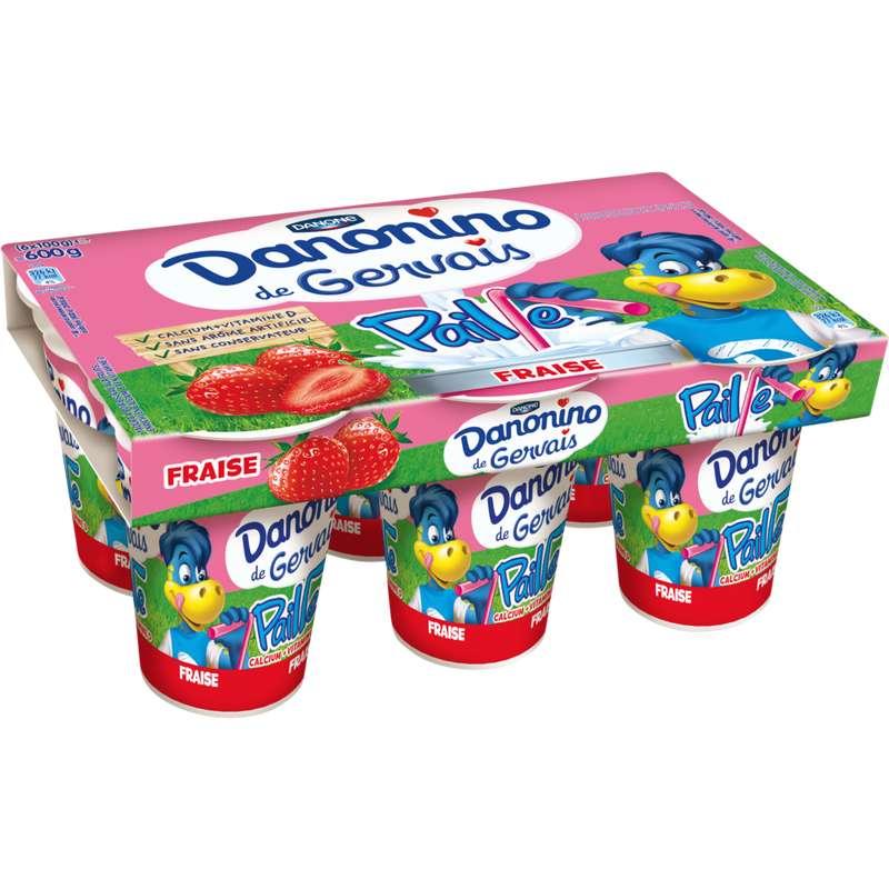 Yaourt à boire Danonino fraise, Gervais (6 x 100 g)