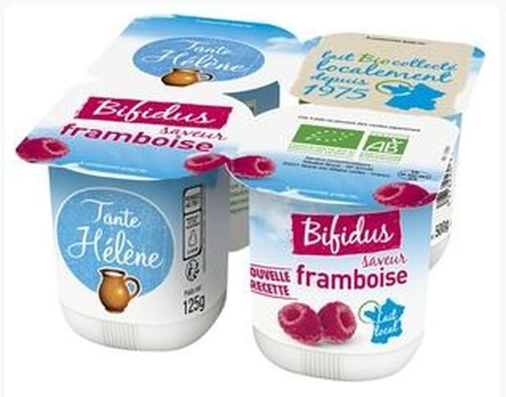 Yaourt au bifidus saveur framboise BIO, Tante Hélène (4 x 125 g)