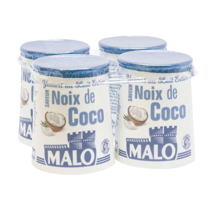 Yaourt au lait entier saveur coco, Malo (4 x 125 g)