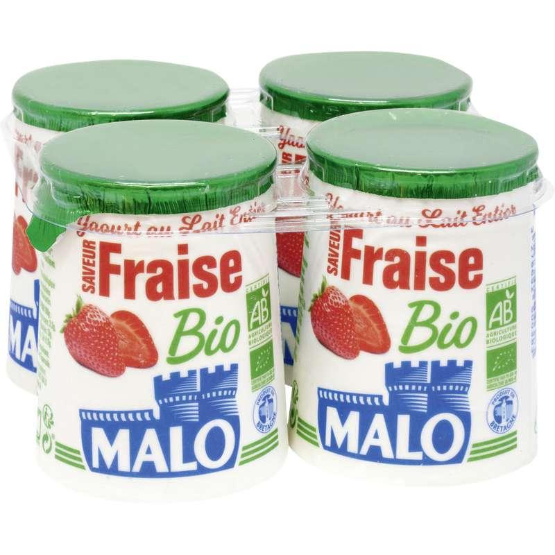 Yaourt au lait entier arômatisé fraise BIO, Malo (4 x 125 g)
