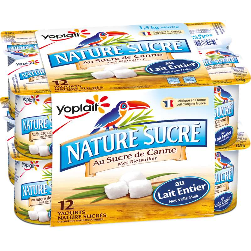 Yaourt nature sucré au lait entier, Yoplait (12 x 125 g)