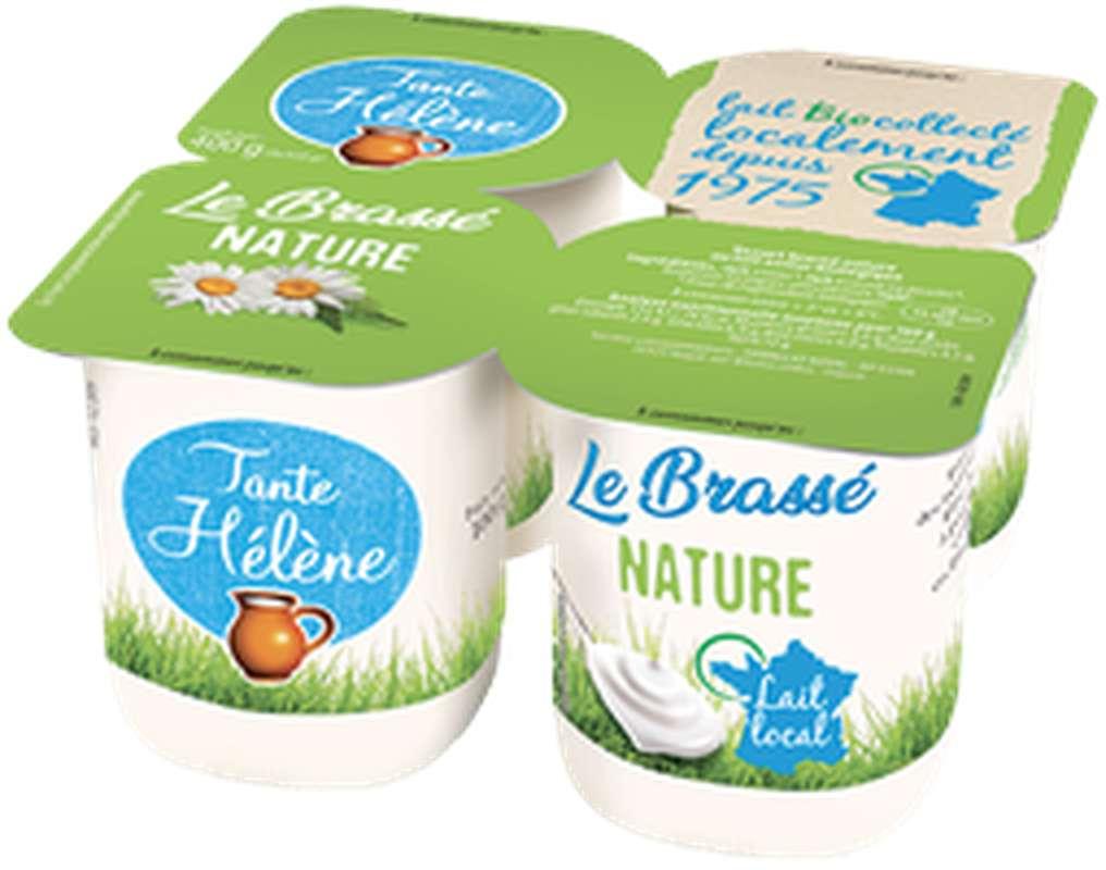 Yaourt brassé nature au lait entier BIO, Tante Hélène (x 4, 400 g)