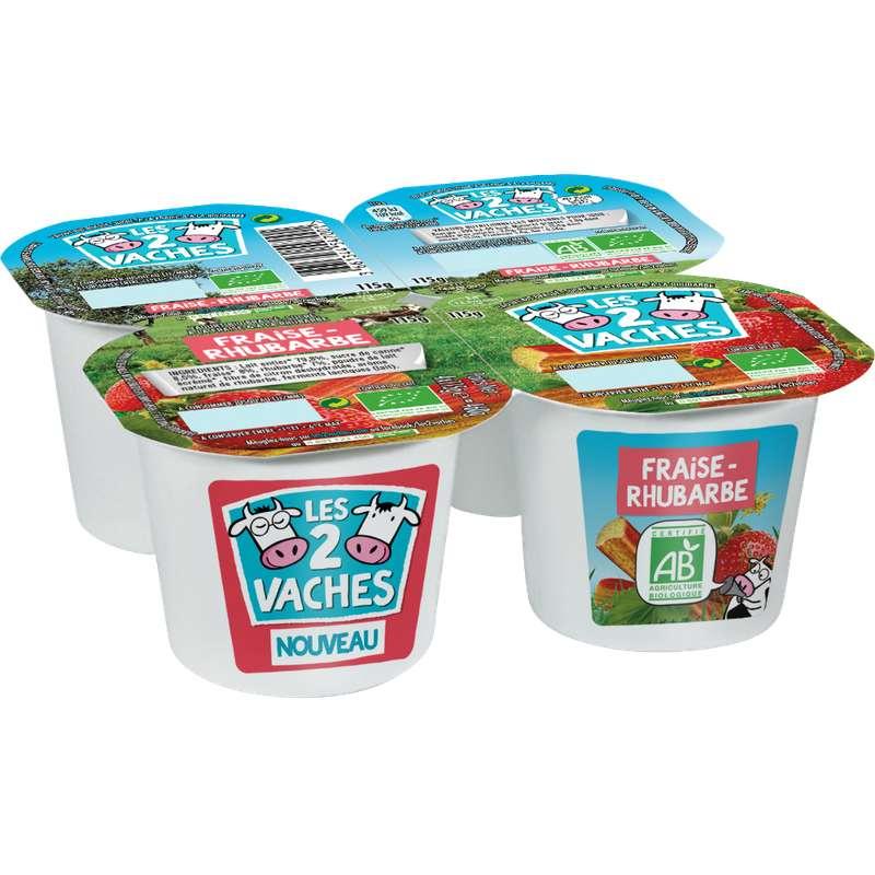 Yaourt brassé fraise et rhubarbe BIO, Les 2 Vaches (4 x 115 g)