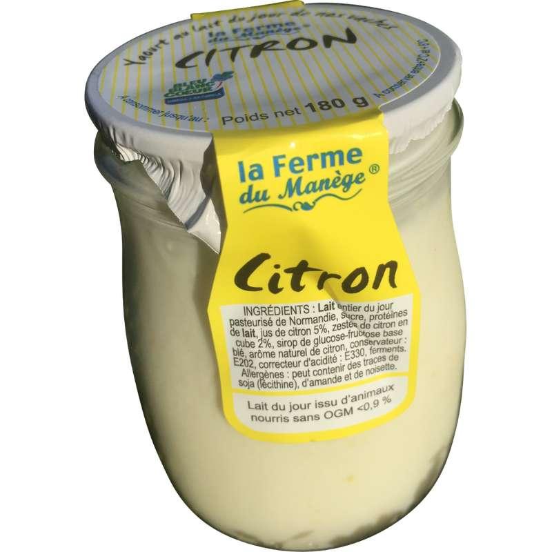 Yaourt entier au lait du jour citron, La Ferme du Manège (180 g)