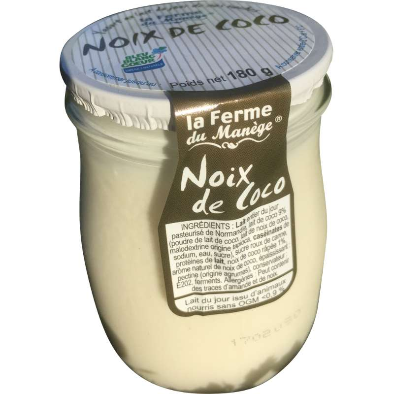 Yaourt entier au lait du jour noix de coco, La Ferme du Manège (180 g)