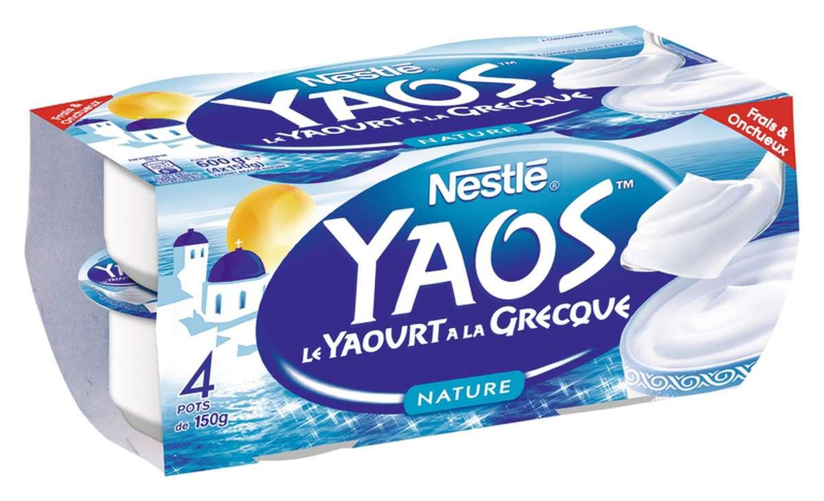 Yaourt nature à la Grecque Yaos, Nestlé (4 x 150 g)