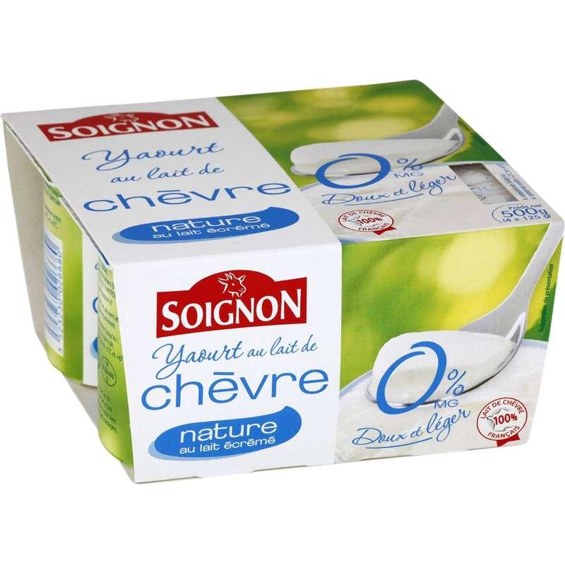 Yaourt nature au lait écrémé de chèvre 0% MG, Soignon (4 x 125 g)