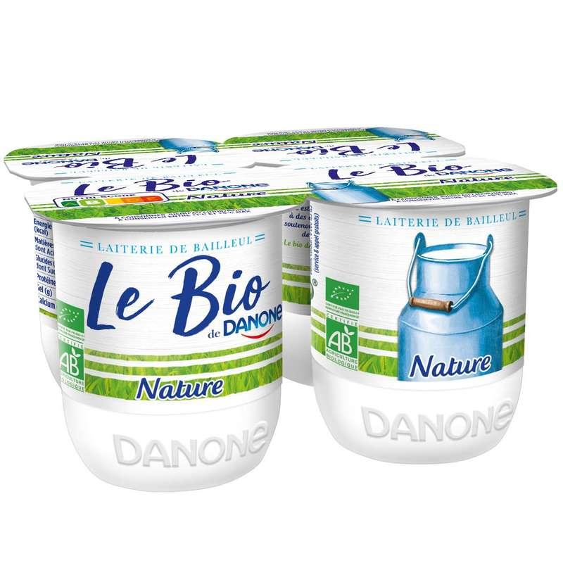 Yaourt nature au lait entier BIO, Danone (4 x 125 g)