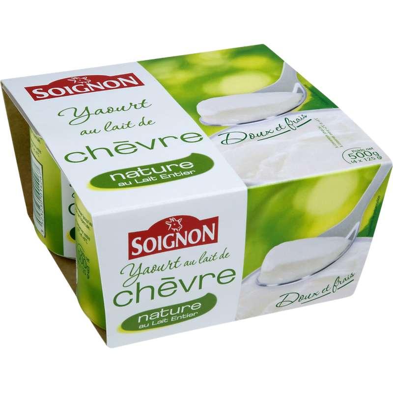 Yaourt nature au lait entier de chèvre, Soignon (4 x 125 g)