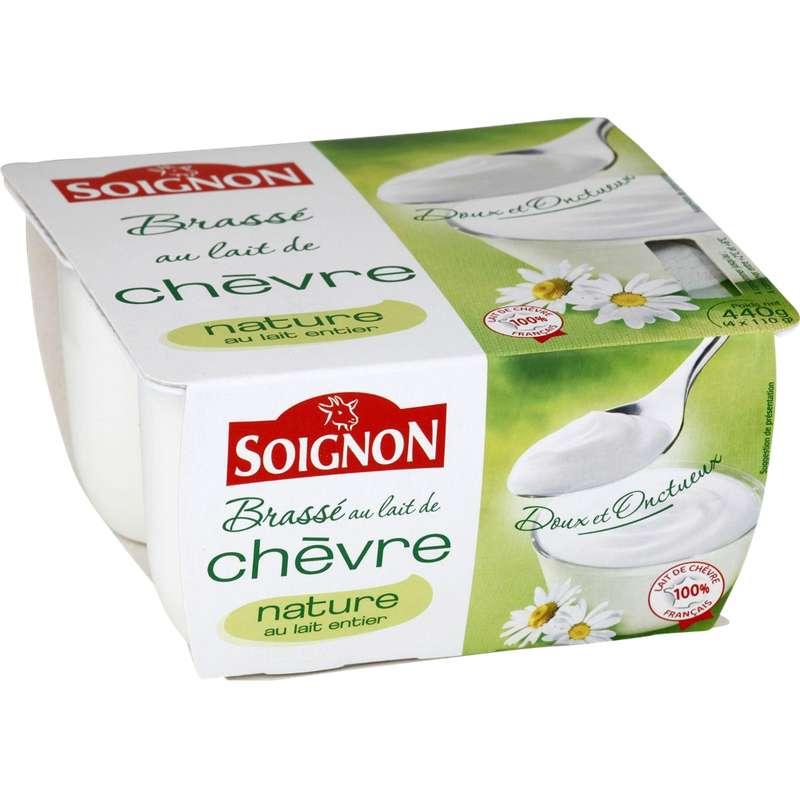 Yaourt brassé nature au lait entier de chèvre, Soignon (4 x 110 g)