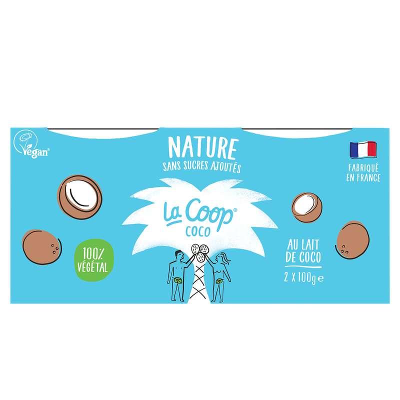 Yaourt Nature 100% végétal, La Coop Coco (x2, 200 g)
