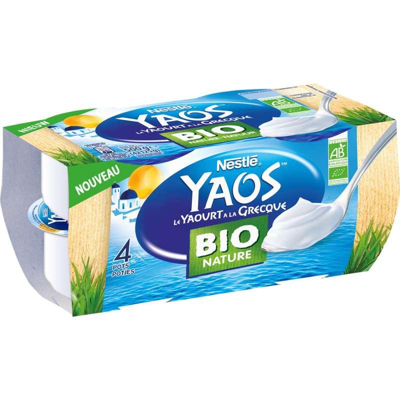 Yaourt  nature à la Grecque BIO Yaos, Nestlé (4 x 125 g)