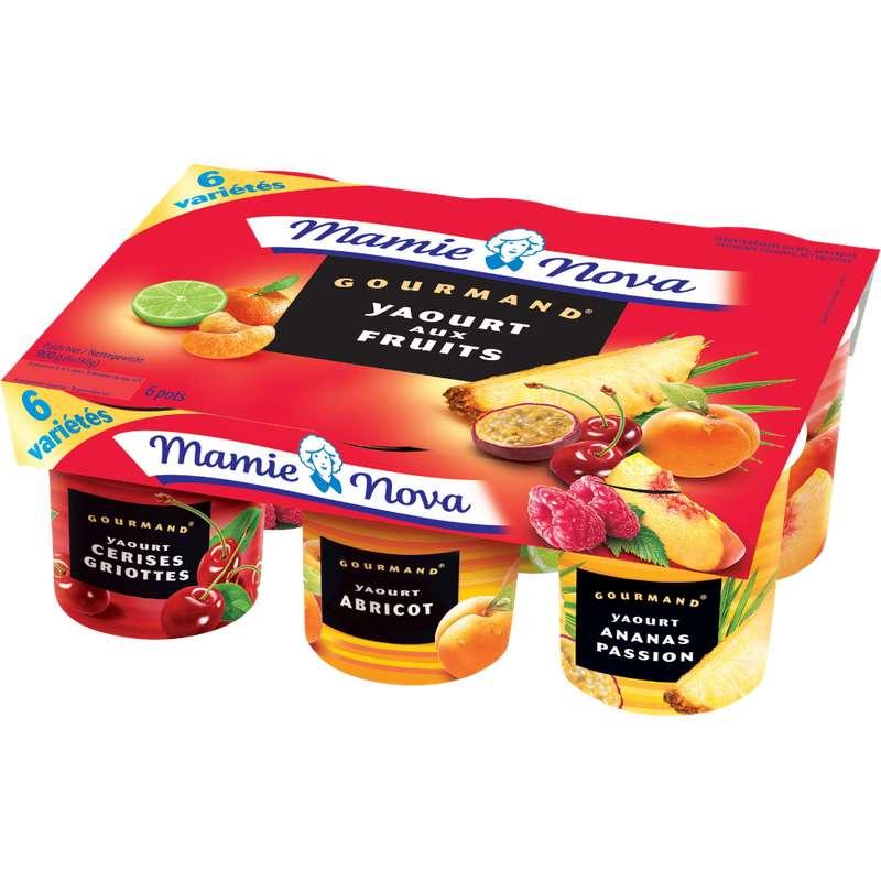 Yaourt Gourmand aux fruits panachés, Mamie Nova (6 x 150 g)