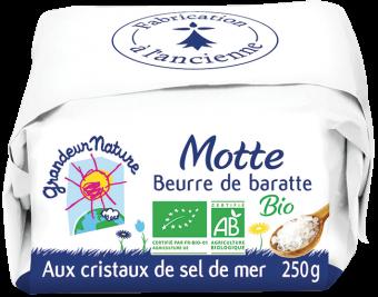 Beurre de baratte aux cristaux de sel de mer motte BIO, Grandeur Nature (250 g)