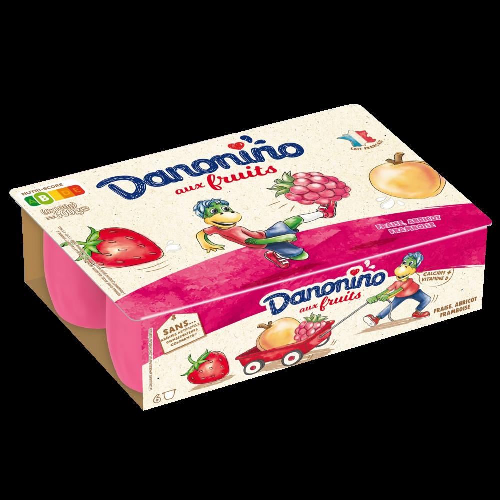 Danonino aux fruits panaché fraise/framboise/abricot, Gervais (6 x 100 g)
