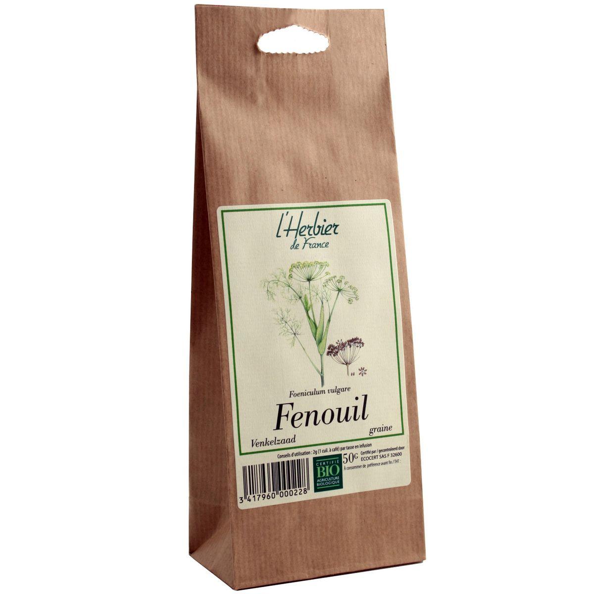 L Herbier Du Midi Produits Naturels fenouil en graine bio, herbier de france (50 g)