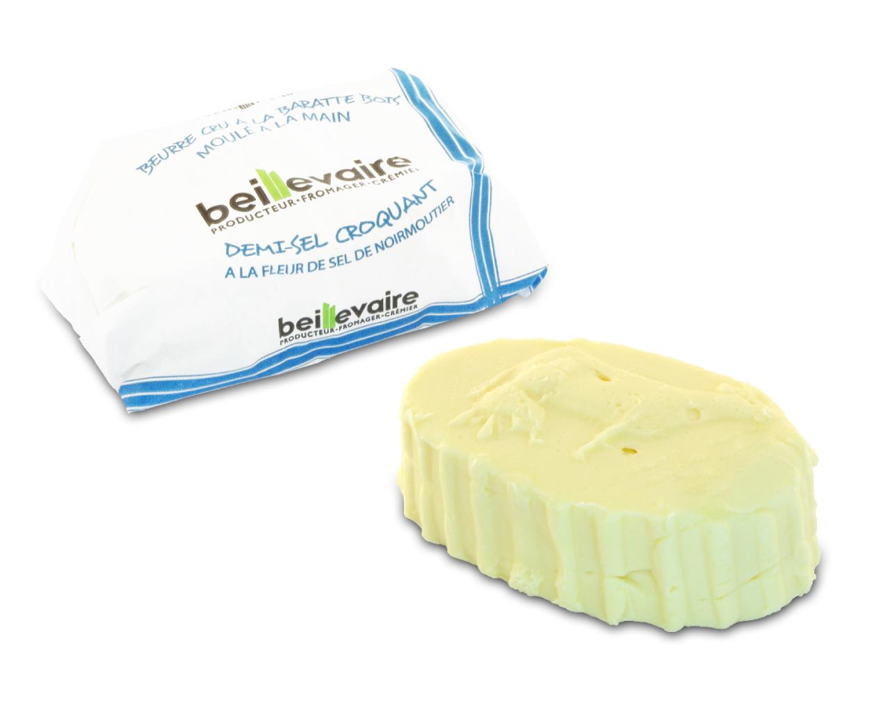 Beurre artisanal cru demi-sel croquant, Beillevaire (125 g)