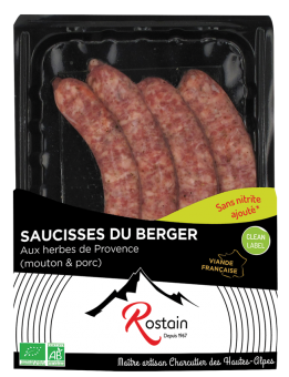Saucisses du berger aux herbes de Provence BIO, Rostain (x 4, 220 g)