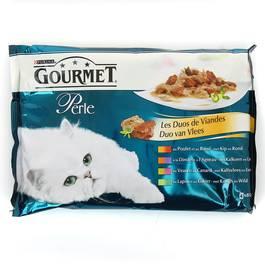Les Duos de viandes pour chats adultes, Gourmet Perle (4 x 85 g)