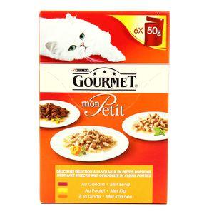Sachets repas à la volaille multivariétés pour chats adultes, Mon Petit Gourmet (6 x 50 g)