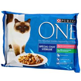Sachets repas pour chats stérilisés, Purina One (4 x 85 g)