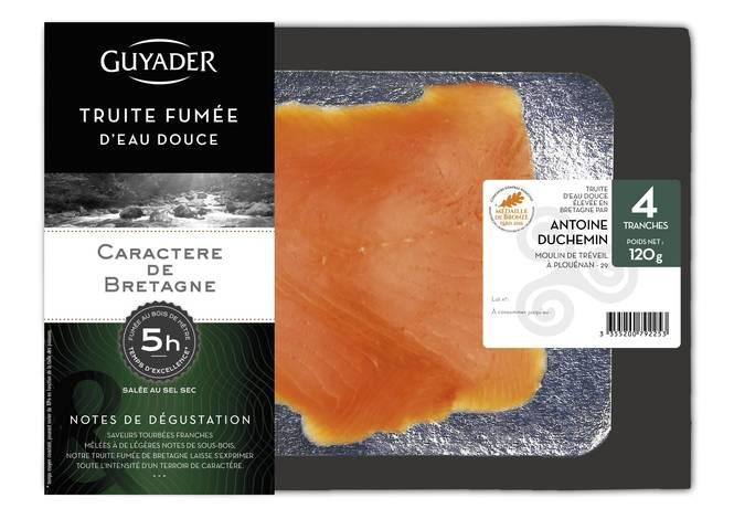 Truite fumée de caractère de Bretagne, Guyader (4 tranches, 120 g)