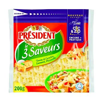 Fromage rapé le 3 saveurs, Président (200 g)