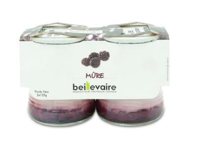 Yaourt aux fruits mûre, Beillevaire (x 2, 250 g)